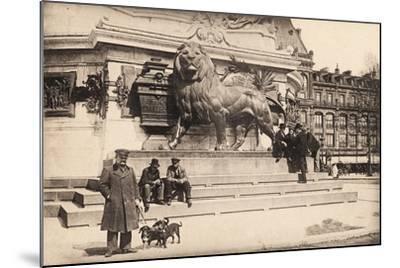 Dogs at the Base of the Statue in Place De La République, Paris, 1905--Mounted Giclee Print