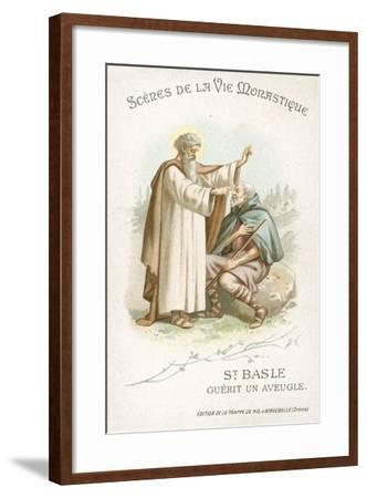 St Basle Curing a Blind Man--Framed Giclee Print