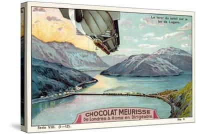 Sunrise over Lake Lugano--Stretched Canvas Print