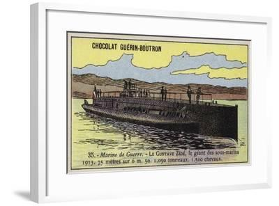 French Submarine Gustave Zede, 1913--Framed Giclee Print