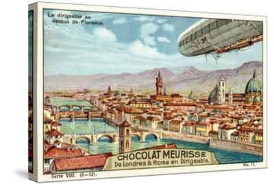 The Airship Above Florence--Stretched Canvas Print