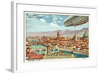 The Airship Above Florence--Framed Giclee Print