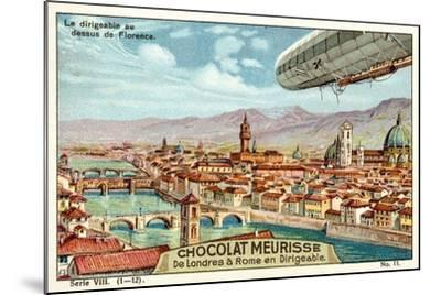 The Airship Above Florence--Mounted Giclee Print