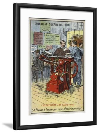 Electrically-Powered Printing Press--Framed Giclee Print