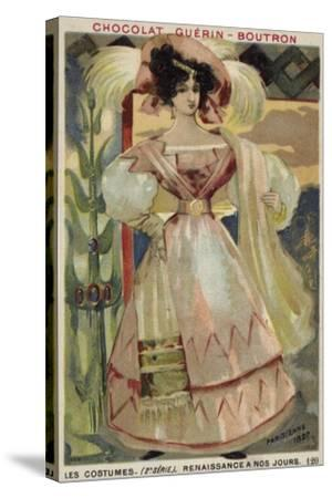 Parisian Fashion, 1827--Stretched Canvas Print