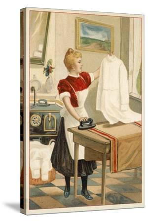 Woman Ironing--Stretched Canvas Print