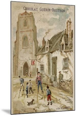 Walking on Stilts--Mounted Giclee Print