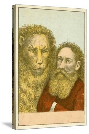Lion and Bearded Man--Stretched Canvas Print