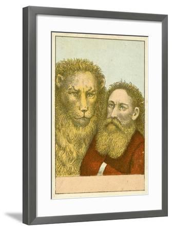 Lion and Bearded Man--Framed Giclee Print