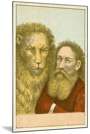 Lion and Bearded Man--Mounted Giclee Print