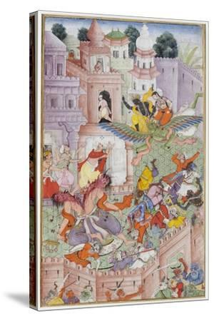 Krishna Cleaves the Demon Narakasura with His Discus, C.1585-90--Stretched Canvas Print