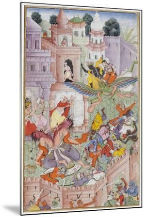 Krishna Cleaves the Demon Narakasura with His Discus, C.1585-90--Mounted Giclee Print