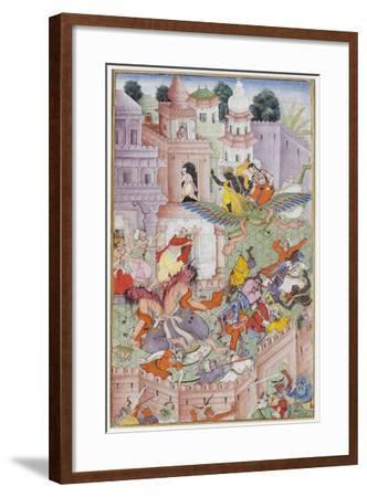 Krishna Cleaves the Demon Narakasura with His Discus, C.1585-90--Framed Giclee Print