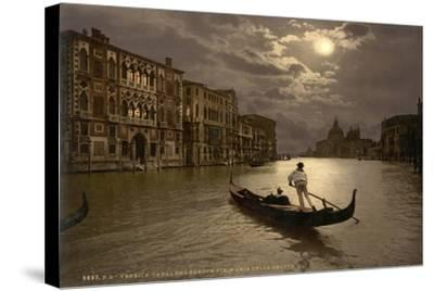 Grand Canal by Moonlight, Venice, Italy, C.1890-C.1900--Stretched Canvas Print