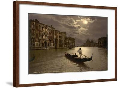 Grand Canal by Moonlight, Venice, Italy, C.1890-C.1900--Framed Giclee Print