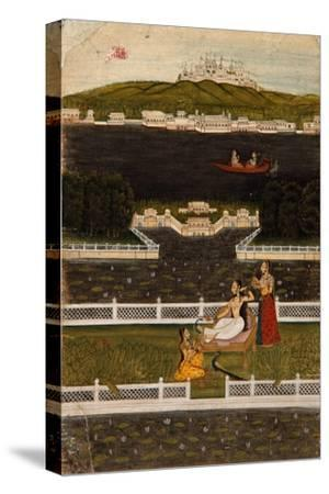A Beautiful Woman on a Lake Terrace, C.1770--Stretched Canvas Print