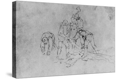 Joshua Shaw's Sketch of a Group of Men Chopping Wood--Stretched Canvas Print
