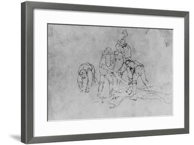 Joshua Shaw's Sketch of a Group of Men Chopping Wood--Framed Giclee Print
