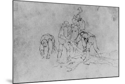 Joshua Shaw's Sketch of a Group of Men Chopping Wood--Mounted Giclee Print