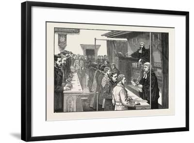 Swearing in Solicitors before the Master of the Rolls, 1876, UK--Framed Giclee Print