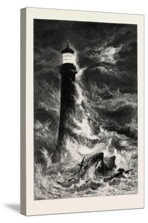 Eddystone Lighthouse, the South Coast, UK, 19th Century--Stretched Canvas Print
