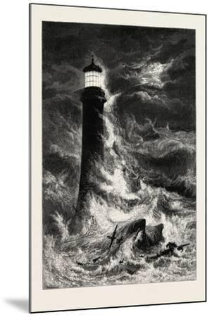 Eddystone Lighthouse, the South Coast, UK, 19th Century--Mounted Giclee Print