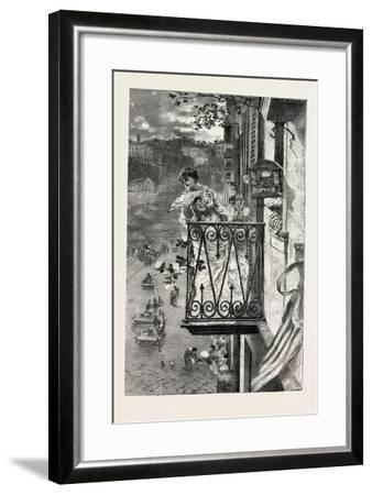 On the Balcony at Naples, Italy, 1882--Framed Giclee Print
