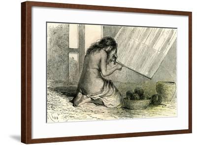 Conibos Woman Weaving 1869, Peru--Framed Giclee Print