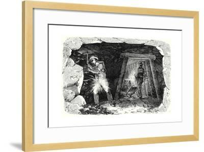 Miners' Lamp. Miners at Work--Framed Giclee Print