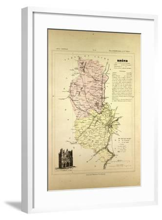 Map of Rhône France--Framed Giclee Print