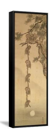 Monkeys Reaching for the Moon, Edo Period (1603-1867)--Framed Stretched Canvas Print