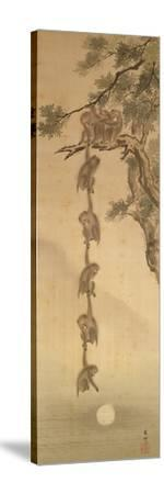 Monkeys Reaching for the Moon, Edo Period (1603-1867)--Stretched Canvas Print