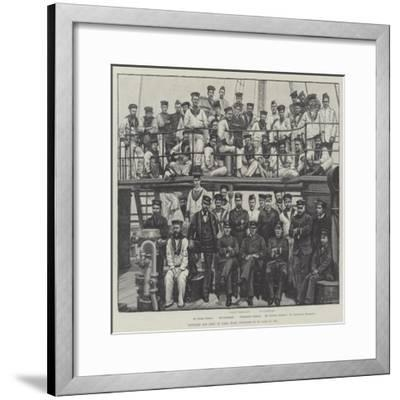 Officers and Crew of HMS Wasp, Supposed to Be Lost at Sea--Framed Giclee Print