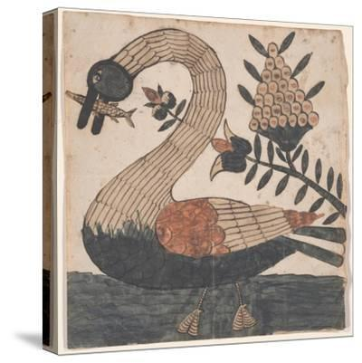Bird with Fish, Fraktur Painting, C.1810--Stretched Canvas Print