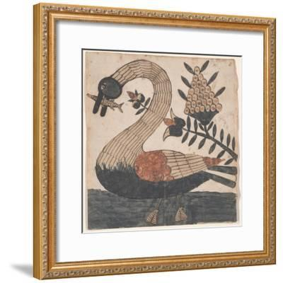 Bird with Fish, Fraktur Painting, C.1810--Framed Giclee Print