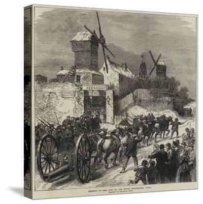 Bringing Up Ship Guns at the Buttes Montmartre, Paris--Stretched Canvas Print