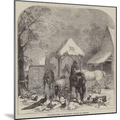 The Strawyard at Christmas--Mounted Giclee Print
