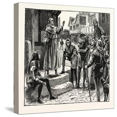 One of Wycliffe's Poor Priests Preaching to the People--Stretched Canvas Print