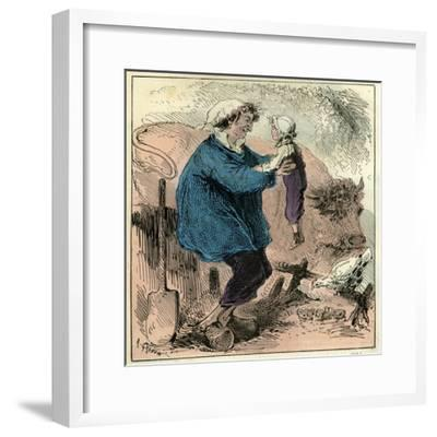 Farmer Child 19th Century Chicken Spade Country Side France--Framed Giclee Print