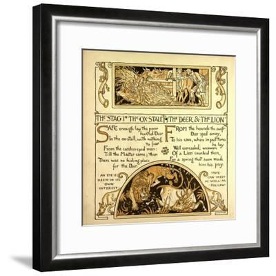 The Stag in the Ox Stall the Deer and the Lion--Framed Giclee Print