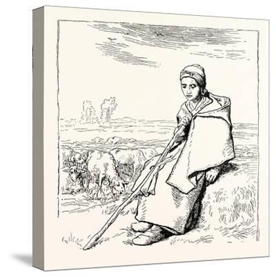 Shepherding, La Bergere, Shepherd--Stretched Canvas Print