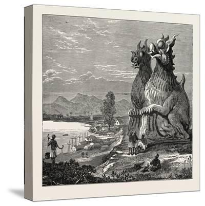 Idols on the Banks of the River Irrawaddy, Burmah--Stretched Canvas Print