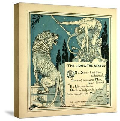 The Lion and the Statue--Stretched Canvas Print
