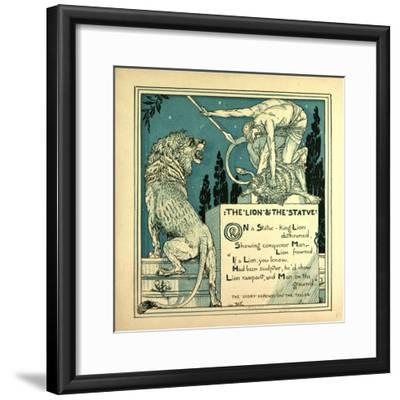 The Lion and the Statue--Framed Giclee Print