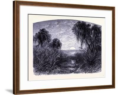 Sunset on the Mississipi United States of America--Framed Giclee Print