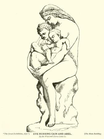 Eve Nursing Cain and Abel, by the Watcomb Terra Cotta Company--Framed Giclee Print