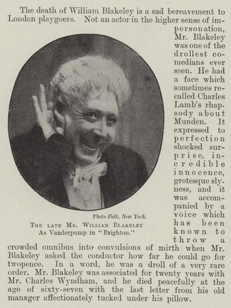 The Late Mr William Blakeley as Vanderpump in Brighton--Framed Giclee Print