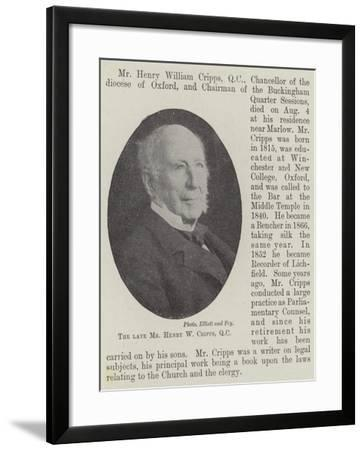 The Late Mr Henry W Cripps--Framed Giclee Print