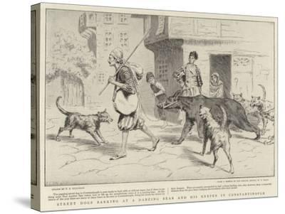 Street Dogs Barking at a Dancing Bear and His Keeper in Constantinople--Stretched Canvas Print