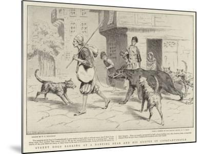 Street Dogs Barking at a Dancing Bear and His Keeper in Constantinople--Mounted Giclee Print
